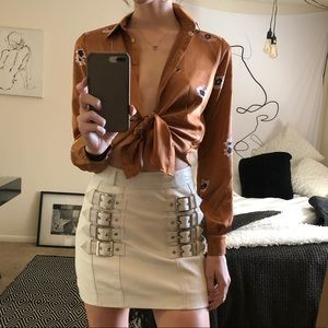 🍓TOPSHOP leather buckled skirt size 2 🍓